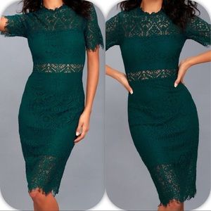 LULU'S REMARKABLE FOREST GREEN LACE DRESS - - XS